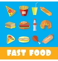 Set of fast food in the style of flat art vector image