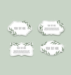 Set vintage labels with leaves frame vector
