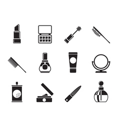 Silhouette cosmetic and make-up icons vector image