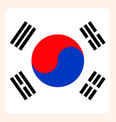 South korea square flag button social media vector