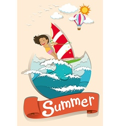 Summer scene with woman surfing vector image