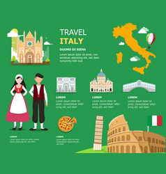 Traveling to italy by landmark icons map vector