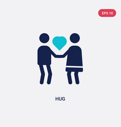 Two color hug icon from love wedding concept vector