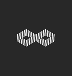 Two cubes logo isometric infinite symbol infinity vector