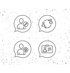 Users edit data and id card line icons vector