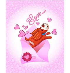 Valentines Day dogs with envelope vector image