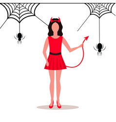 woman wearing devil costume horns tail spider web vector image