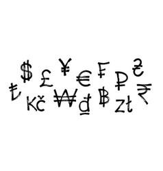 world currency icons set black graffiti symbol vector image