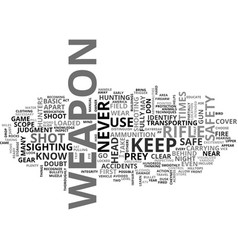 Basic firearm safety for hunters text word cloud vector