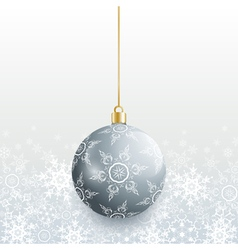 Christmas card with grey christmas ball vector image