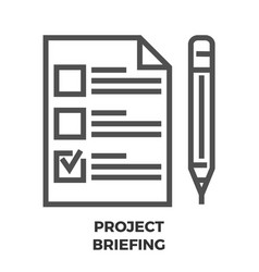 project briefing line icon vector image vector image