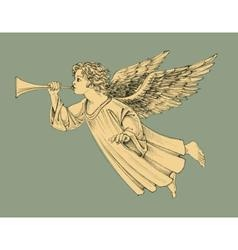 Retro style christmas angel vector
