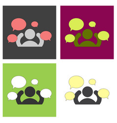 Set of flat social network icon people network vector