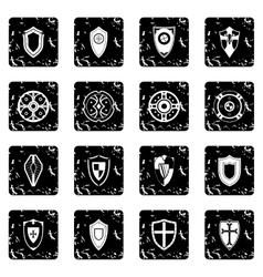Shields set set icons grunge style vector image