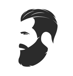 silhouette of a bearded man hipster style barber vector image vector image