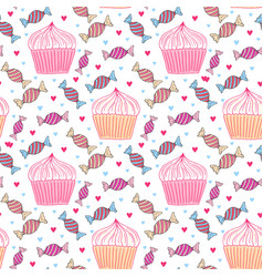 sweets seamless pattern with cupcakes and candy vector image vector image