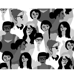 Woman only crowd group gray scale seamless pattern vector image