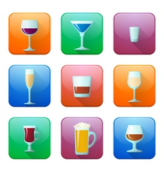 glossy alcohol glasses icons set vector image vector image