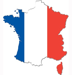 Map of France with national flag vector image