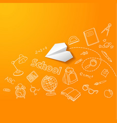 Paper plane and school doodle background vector image vector image