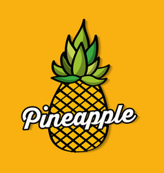 Pineapple fresh fruit premium quality vector