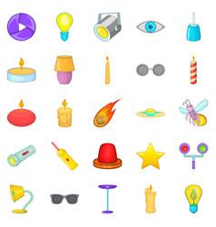 shine icons set cartoon style vector image vector image