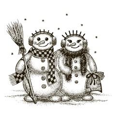 Snowmen boy and girl vector image