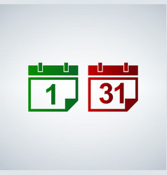 calendar icon set 31 1 vector image vector image