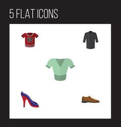 flat icon garment set of uniform heeled shoe vector image vector image