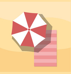top view of towel and umbrella on sand for summer vector image