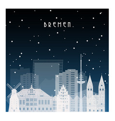 winter night in bremen night city in flat style vector image