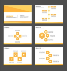 Yellow gold presentation templates Infographic Set vector image vector image