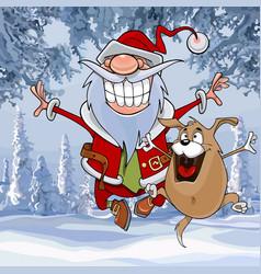 cartoon santa claus happily bounces vector image