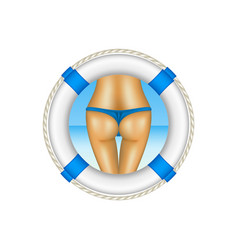 life buoy with sexy bum of woman in blue bikini vector image