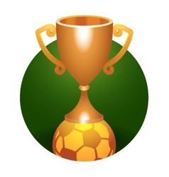 Soccer ball trophy bronze cup vector image vector image