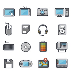 Technology and Devices Icon Bold Stroke with Color vector image vector image