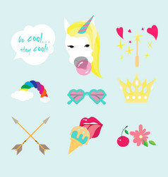 unicorn flat color icon isolated style set vector image