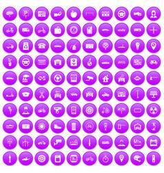 100 parking icons set purple vector