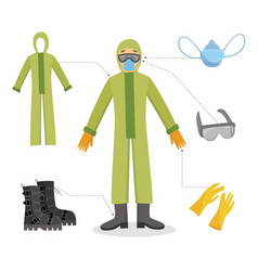 a man and a worker in chemical protective clothing vector image