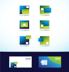 Abstract blue green square logo set vector