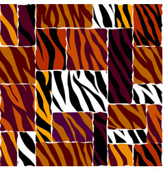 abstract brown animal exotic pattern in patchwork vector image