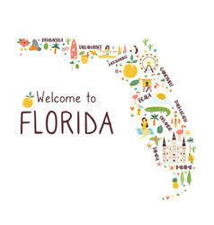 Abstract map florida with symbols vector