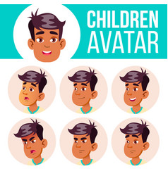arab muslim boy avatar set kid high vector image