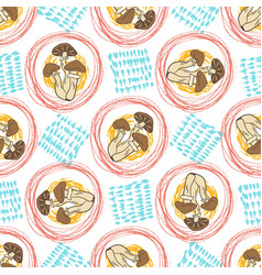 autumn seamless pattern with mushrooms and vector image