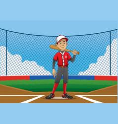 Baseball player pose on pitch vector