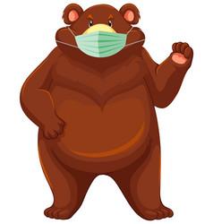 bear cartoon character wearing mask vector image