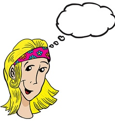 blonde girl with thought bubble vector image