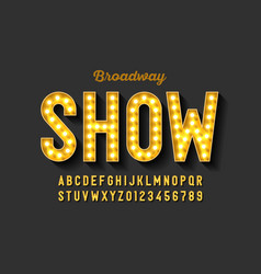 broadway style retro light bulb font vintage vector image