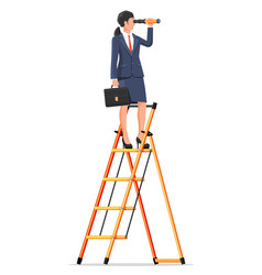 businesswoman looking in spyglass on ladder vector image