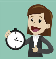 Businesswoman or manager hold clock and takes vector
